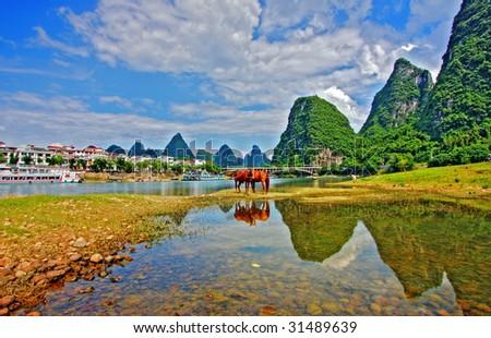 Li river karst mountain landscape in Yangshuo, China - stock photo