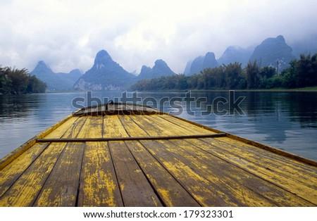 Li River near Yangshuo in China - stock photo