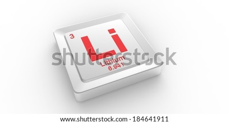 Li symbol 3 material for Lithium chemical element of the periodic table - stock photo