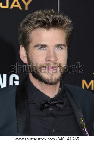 Liam Hemsworth at the Los Angeles premiere of 'The Hunger Games: Mockingjay - Part 2' held at the Microsoft Theater in Los Angeles, USA on November 16, 2015. - stock photo