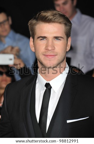 "Liam Hemsworth at the world premiere of his new movie ""The Hunger Games"" at the Nokia Theatre L.A. Live. March 12, 2012  Los Angeles, CA Picture: Paul Smith / Featureflash"