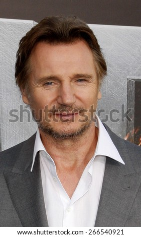 Liam Neeson at the Los Angeles premiere of 'Battleship' held at the Nokia Theatre L.A. Live in Los Angeles on May 10, 2012.  - stock photo