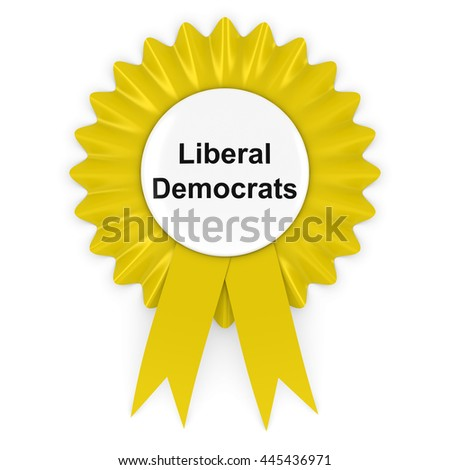 Liberal Democrats Party Rosette Badge 3D Illustration - stock photo