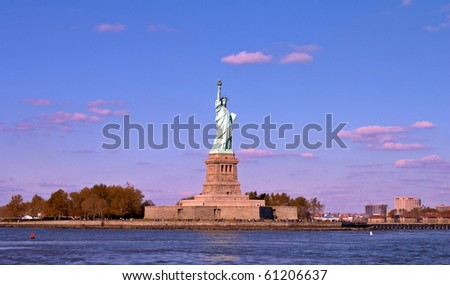 Liberate statue,view from the sea - stock photo