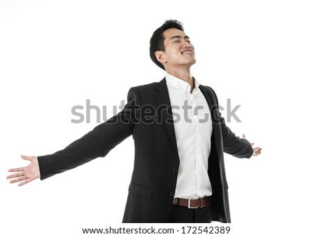 Liberated Businessman - stock photo