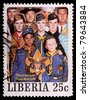 LIBERIA - CIRCA 1979: A 25-cent stamp printed in Liberia shows a Norman Rockwell painting of diverse people representing the Boy Scouts of America, circa 1979 - stock photo