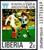 LIBERIA - CIRCA 1978: A Postage Stamp Shows Football Players in World Football Cup in Argentina, circa 1978 - stock photo