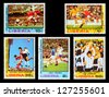 LIBERIA - CIRCA 1978: A set of postage stamps printed in LIBERIA shows football players, series, circa 1978 - stock photo