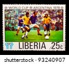 LIBERIA - CIRCA 1978: a stamp printed by LIBERIA, shows football players blue to yellow vests. World football cup ,Argentina, circa 1978 - stock photo