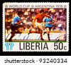 LIBERIA - CIRCA 1978: a stamp printed by LIBERIA, shows football players. World football cup ,Argentina, circa 1978 - stock photo
