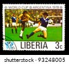 LIBERIA - CIRCA 1978: a stamp printed by LIBERIA, shows football players yellow to blue vests. World football cup , circa 1978 - stock photo