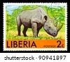 LIBERIA - CIRCA 1981: A stamp printed in Liberia shows rhino, series animals, circa 1981 - stock