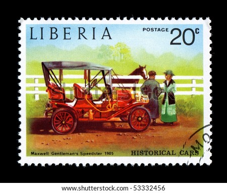 LIBERIA - CIRCA 1982: Liberia Canceled postage stamp depicting antique Maxwell auto car obsolete when new government took power. Circa 1982