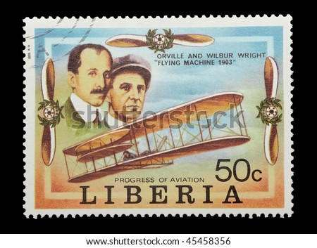 LIBERIA - CIRCA 1978: mail stamp celebrating the first flight of the Wright brothers, circa 1978 - stock photo