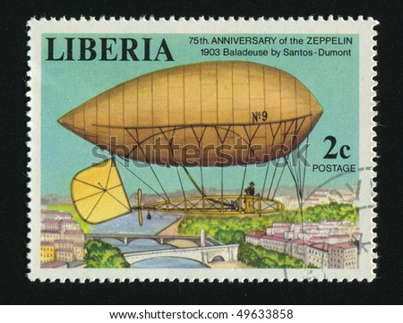 LIBERIA - CIRCA 1978: stamp printed by Liberia, shows dirigible, circa 1978.