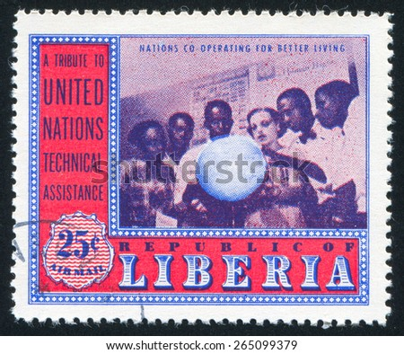 LIBERIA - CIRCA 1954: stamp printed by Liberia, shows Geography class, circa 1954 - stock photo
