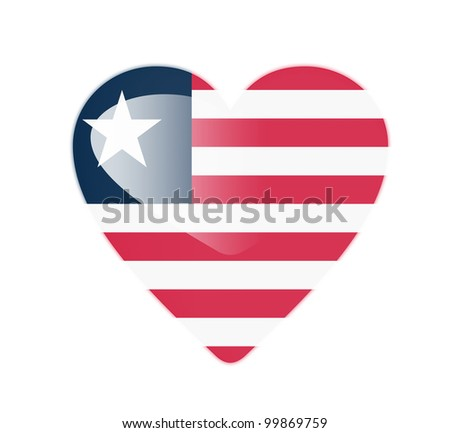 Liberia 3D heart shaped flag