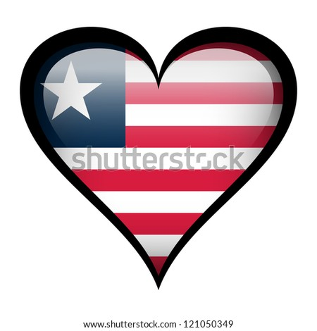 Liberia flag in heart isolated on white.