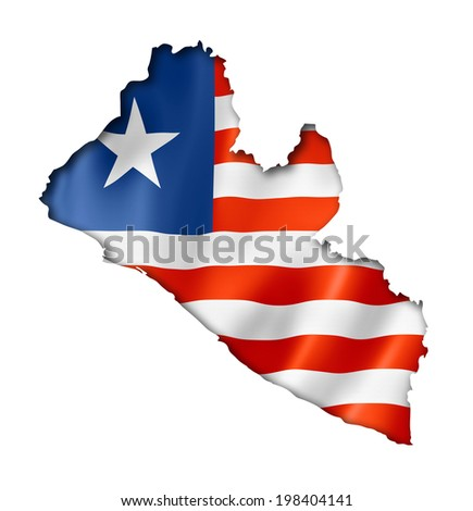 Liberia flag map, three dimensional render, isolated on white - stock photo