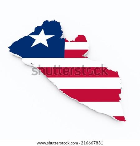 Liberia flag on 3d map - stock photo