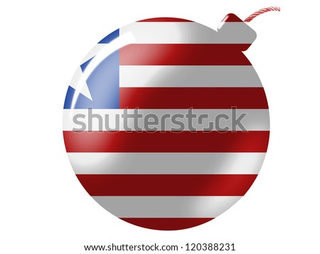 Liberia flag painted on bomb icon