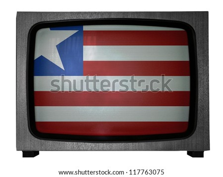 Liberia flag painted on old TV - stock photo