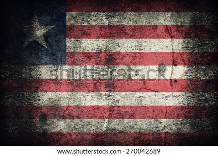 Liberia flag pattern on dirty old concrete wall texture ,retro vintage style - stock photo