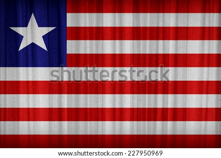 Liberia flag pattern on the fabric curtain,vintage style - stock photo