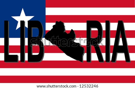 Liberia text with map on flag illustration JPG