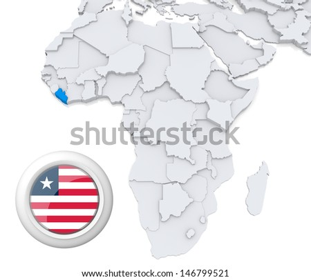Liberia with national flag - stock photo