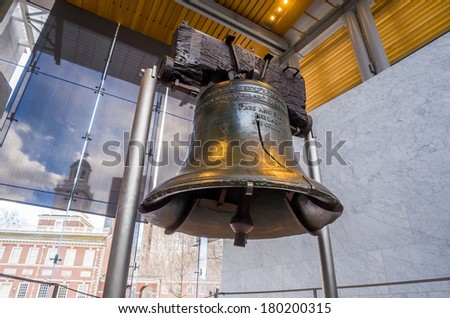 Liberty Bell  old symbol of American freedom  in Independence Mall building in Philadelphia Pennsylvania