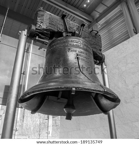 Liberty Bell  old symbol of American freedom  in Independence Mall building in Philadelphia Pennsylvania black and white - stock photo