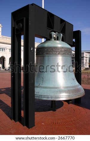 Liberty Bell replica in front of Union Station in Washington D.C. - stock photo