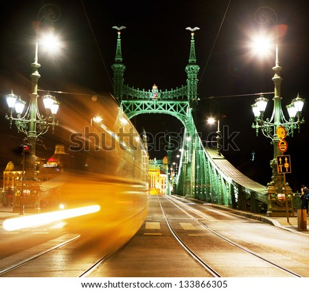 Liberty Bridge in Budapest. - stock photo