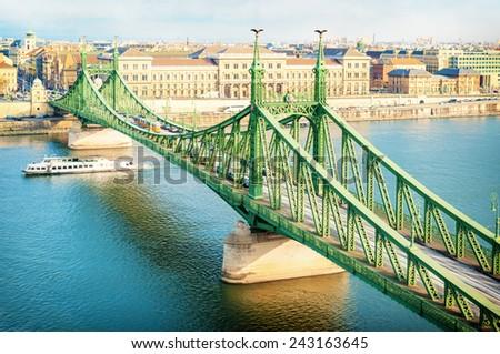 Liberty bridge in Budapest Hungary. - stock photo