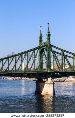 Liberty Bridge over Danube river in Budapest, Hungary - stock photo