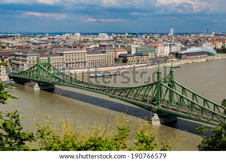 Liberty Bridge was built between 1894 and 1896 to the plans of Janos Feketehazy. - stock photo