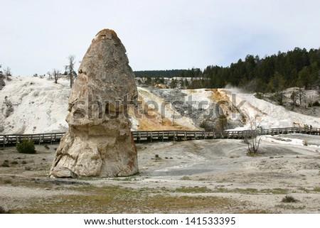 Liberty Cap, Mammoth Hot Springs, Yellowstone - stock photo