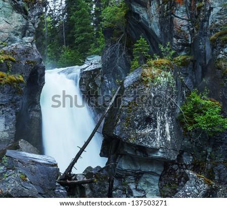 Liberty Cap waterfall in Alaska - stock photo