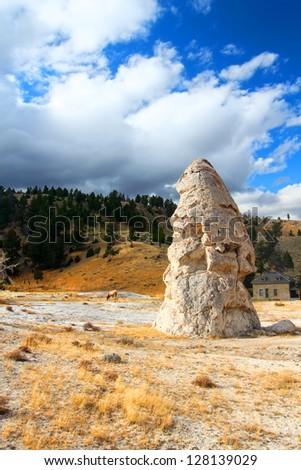 Liberty Cone Yellowstone National Park - stock photo