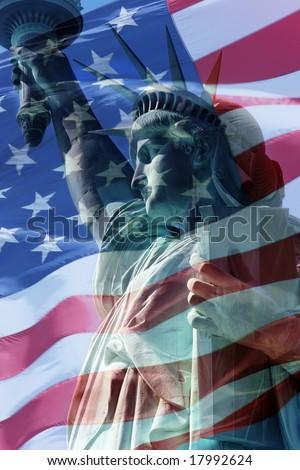 liberty  flag - stock photo
