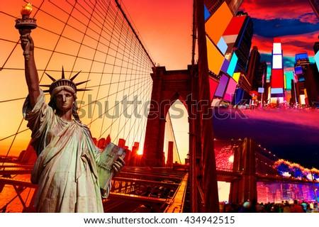 Liberty Statue and New York American Symbols USA photomount - stock photo