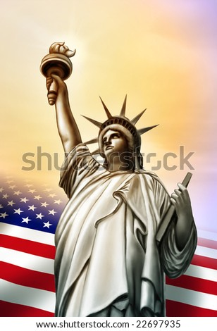 Liberty statue and Usa flag. Original digital illustration. - stock photo