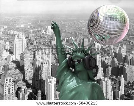liberty statue dj at New York - stock photo