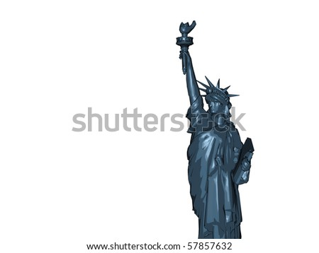 Liberty Statue on white background