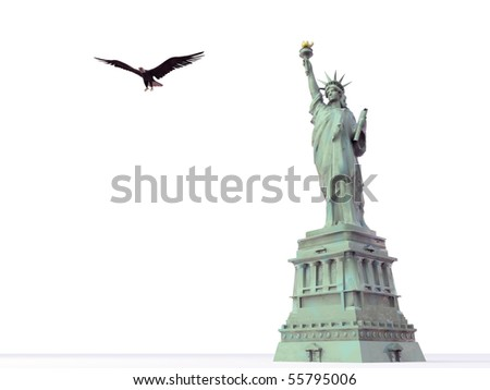 liberty statute isolated on white background - stock photo