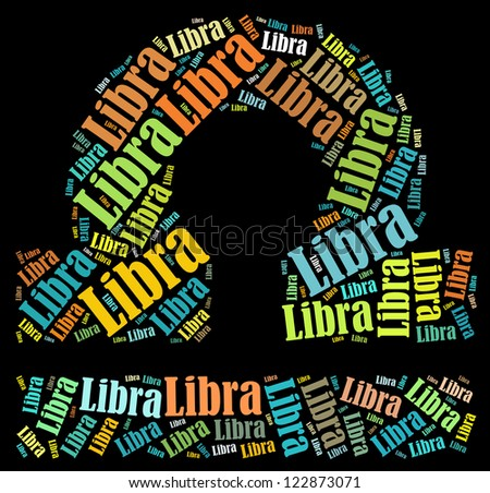 Libra zodiac info-text graphics composed in Libra zodiac sign shape on black background - stock photo