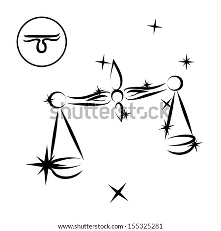 Libra/Zodiac sign made of stars in black and white, isolated on white background  - stock photo