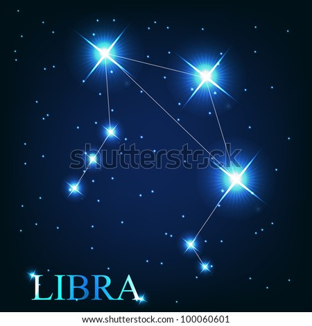 Libra zodiac sign of the beautiful bright stars on the background of cosmic sky - stock photo