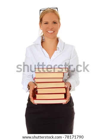 Librarian carrying pile of books. All on white background. - stock photo